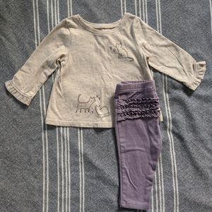 Jumping Beans Girls 6m Long Sleeve Shirt + Legging